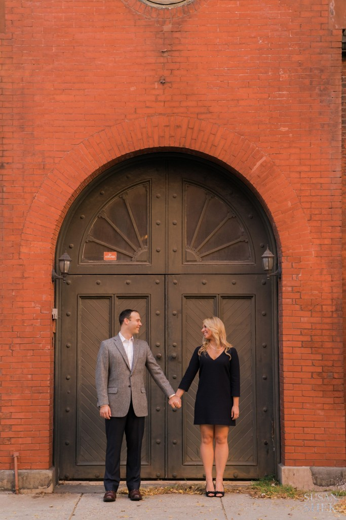 fancy iron door in brooklyn heights with couple