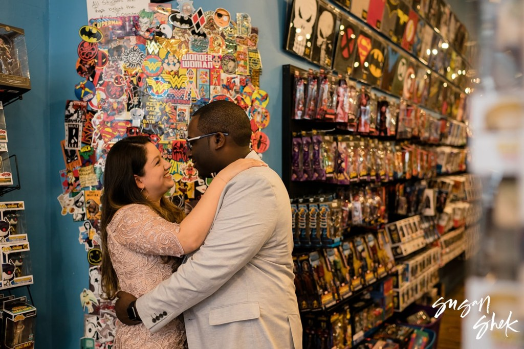Photo shoot at Forbidden Planet, Engagement Shoot, NYC Engagement Photographer, Engagement Session, Engagement Photography, Engagement Photographer, NYC Wedding Photographer