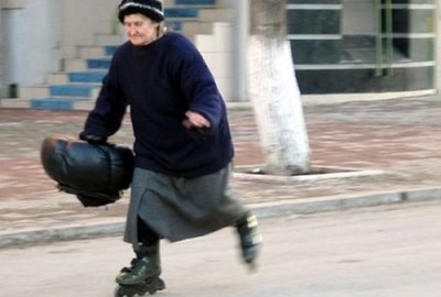 Elder on inline skates