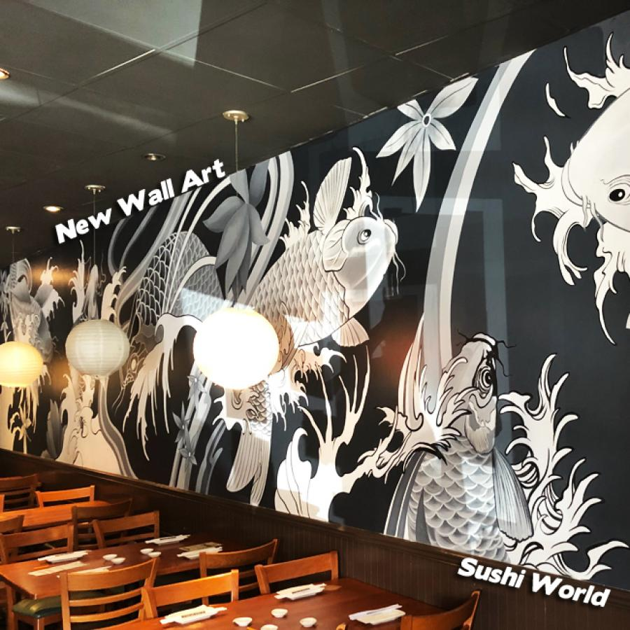 New Wall Art   Sushi World Japanese Koi Mural Wall Art Local Artist Restaurant Decor Interior Design
