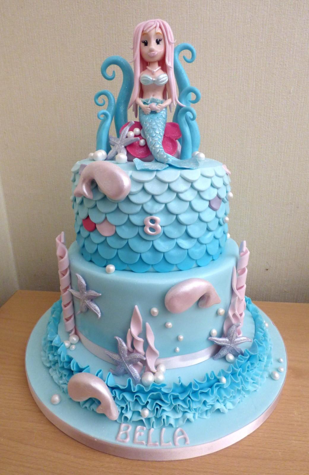 2 Tier Sparkling Mermaid Birthday Cake Susie S Cakes
