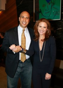 Jessica with then Mayor of Newark Cory Booker promoting The Caliber Collection.