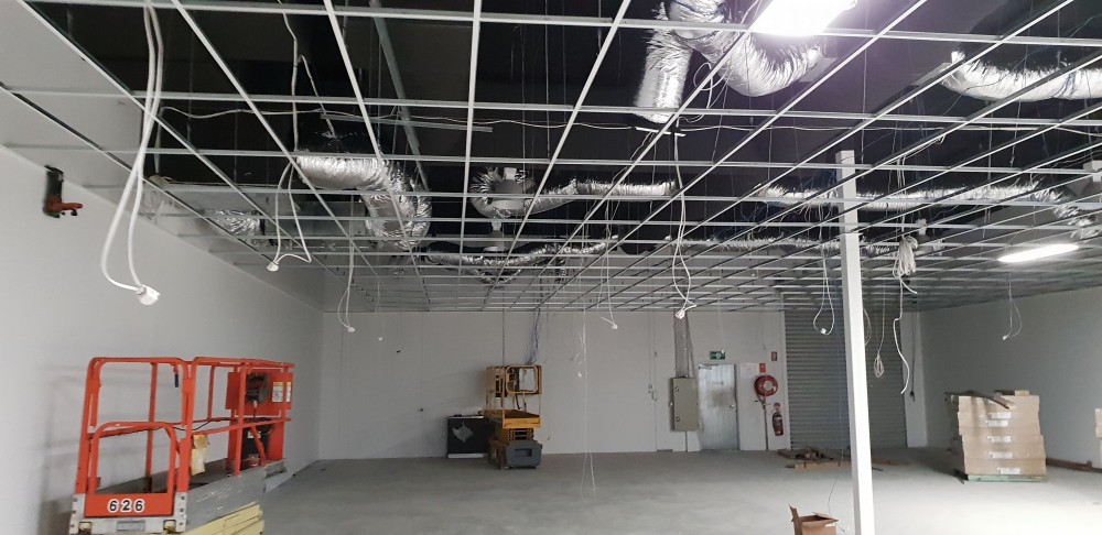 Drop ceiling, exposed grid, before tile installation