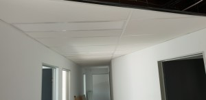Angled partition walls and suspended ceiling