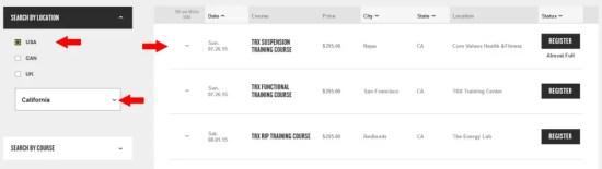 TRX Training Courses - California