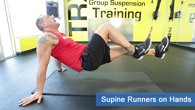 TRX leg exercises - surpine runners on hands