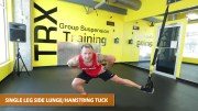 TRX single leg side lunge hamstring tuck