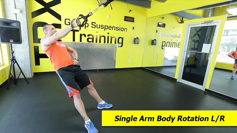 TRX shoulder exercises - single arm body rotation