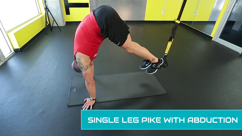 TRX leg workouts - single leg pike with abduction