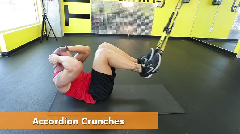 TRX core workouts - Accordion crunches