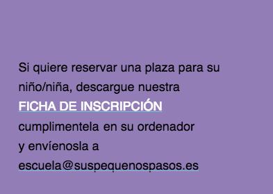 Ficha de inscripción Talleres extra-escolares Guardería Bilingüe Sus Pequeños Pasos