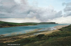 A painting of the River Camel Estuary and Stepper Point by Glen Smith