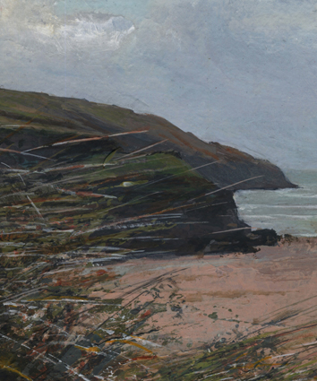 Gull Rocks, Holywell Bay - detail of the painting by Glen Smith