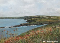 A painting of the Cornish coastline near Port Isaac