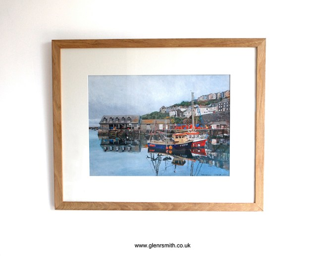 Framed painting 'Mevagissey Quay' by Glen Smith