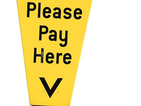 Yellow car park ticket machine
