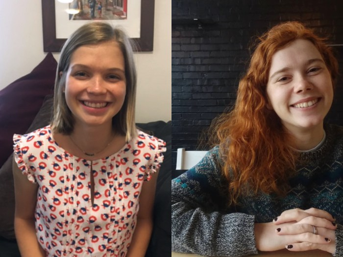 Two photos are side-by-side. On the left is Clara, who has shoulder-length straight hair and is wearing a summer top. On the right, Emily wears a sweater and has medium length curly hair. Both are smiling.