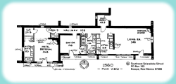 A floor plan shows many windows and a solar overhang on the south side of a home, with reduced windows and buffered entrances on the other sides of the home.