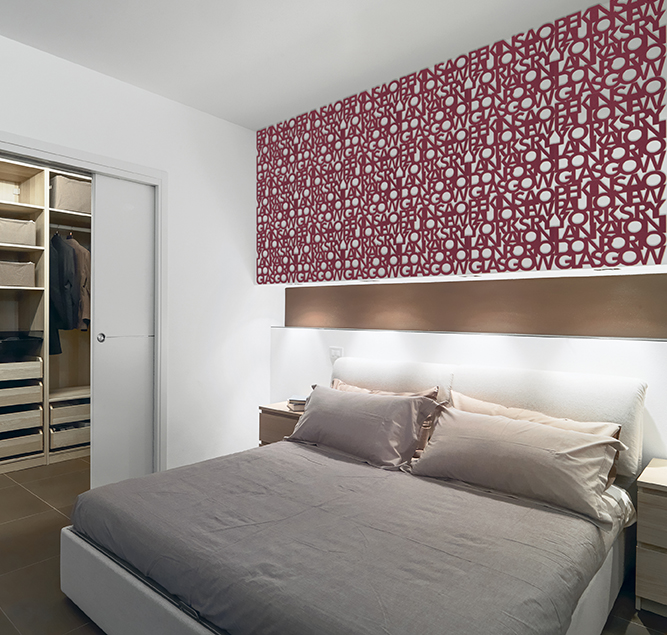 modern bedroom overlooking on the wardrobe