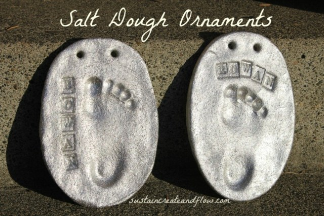 salt dough with metallic paint