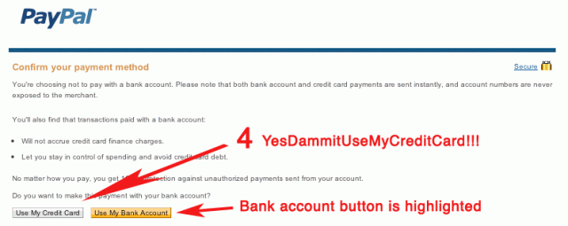 PayPal uses visual tricks and vague warnings to try to intimidate me and trick me into using my bank account.