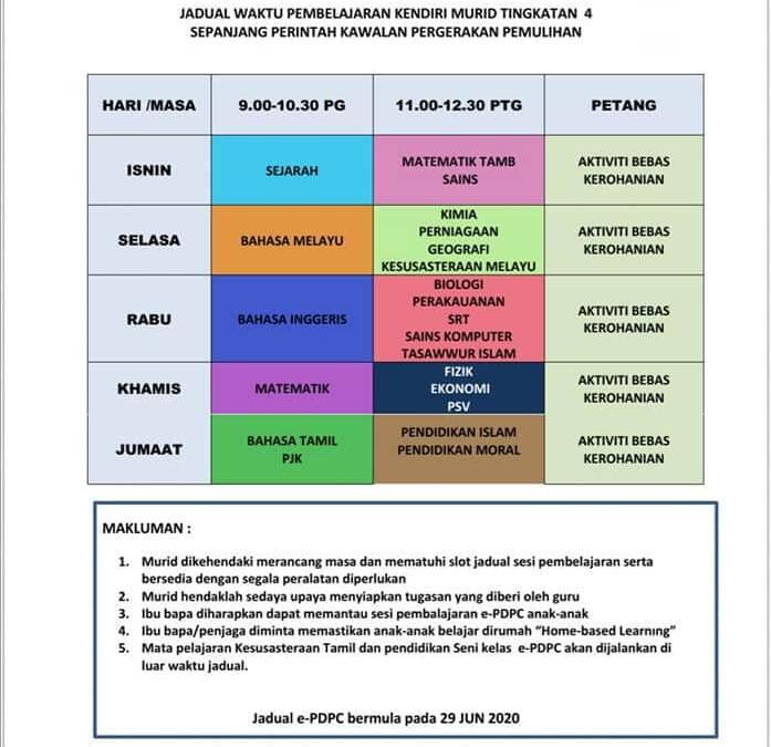 JADUAL WAKTU e-Pdpc Tingkatan 1-4 bermula 30 Jun 2020 (Selasa)