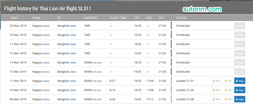 Flight history for Thai Lion Air flight SL311