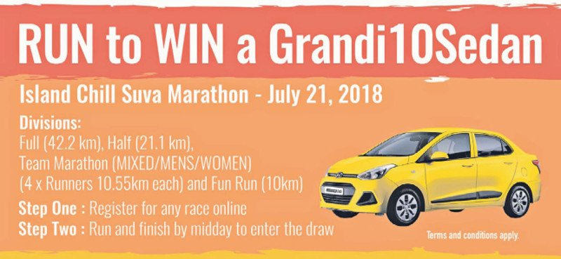 A brand new Hyundai Grand i10 can be won by one lucky finisher at the 2018 Island Chill Suva Marathon on July 21.