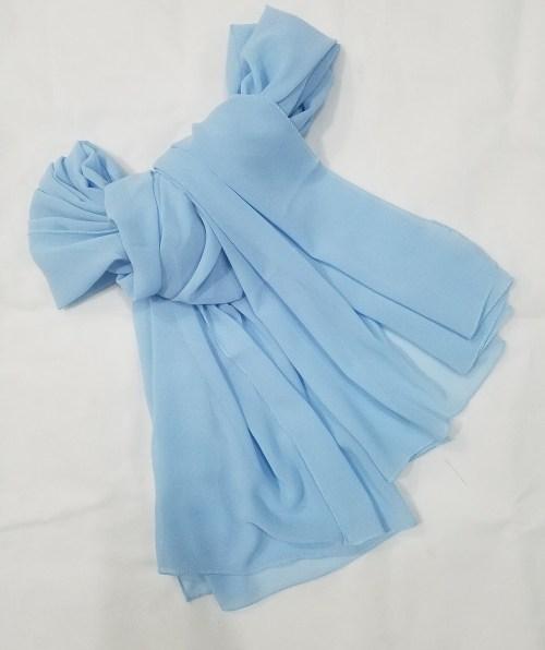 plain chiffon scarf sky blue full picture