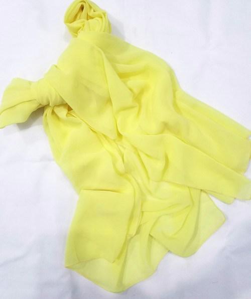 plain chiffon scarf yellow full picture