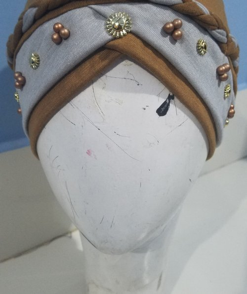 Criss Cross Pearl Full Cap - Camel - Front Picture