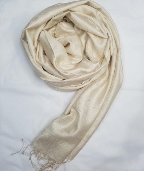 silk printed scarf cream full picture
