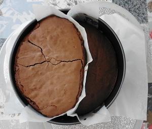 Chocolade taart eigeel gebakken
