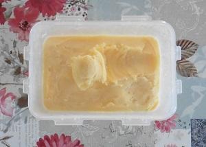 Vanille roomijs bakje ijs klaar om op te scheppen