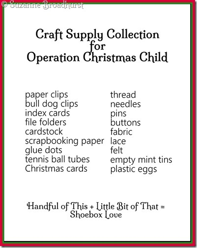 Craft Supplies for OCC