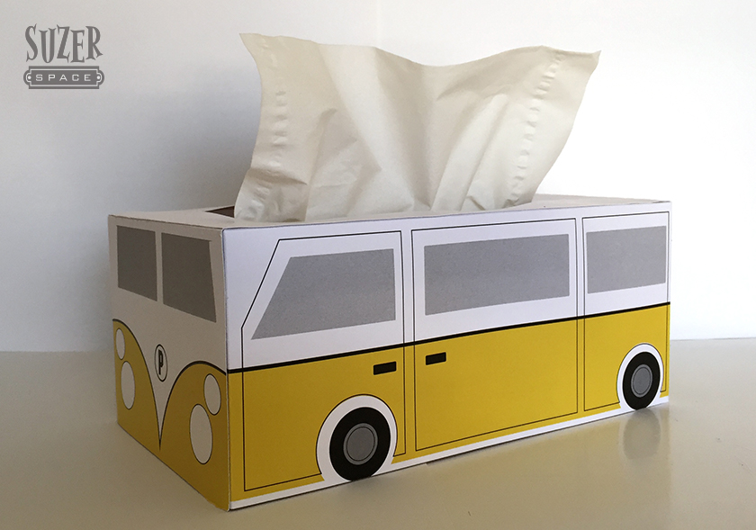 A VW bus inspired tissue box cover