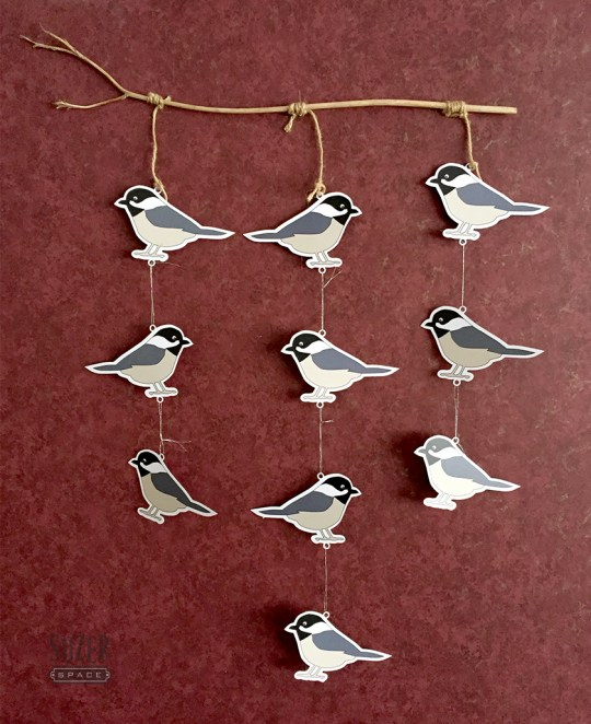 Black Capped Chickadees become a wall hanging when cut using Silhouette Studio's print & cut feature.