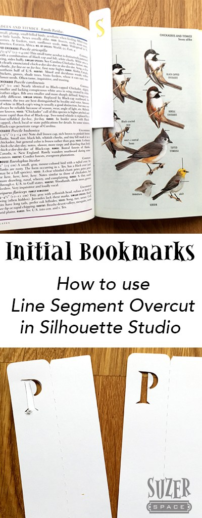 Silhouette Studio's Line Segment Overcut Setting made these initial letter bookmarks possible