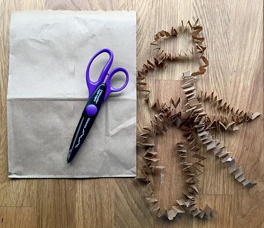 paper bag dirt for a paper cactus