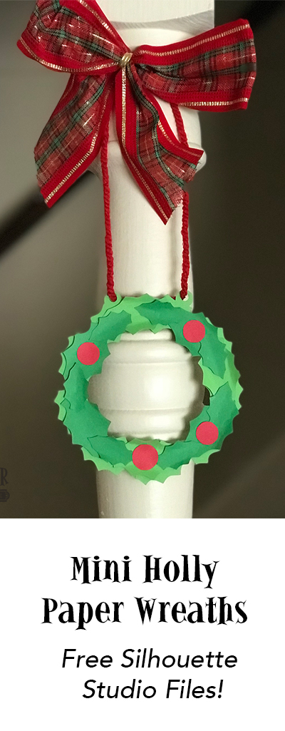 Create a set of mini paper holly wreaths perfect for holiday decorating with the free files in this post. | suzerspace.com