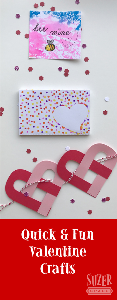 Faux Watercolor backgrounds, a typographic heart garland and a polka dot gift card holder are three easy projects for Valentine's Day crafting | suzerspace.com
