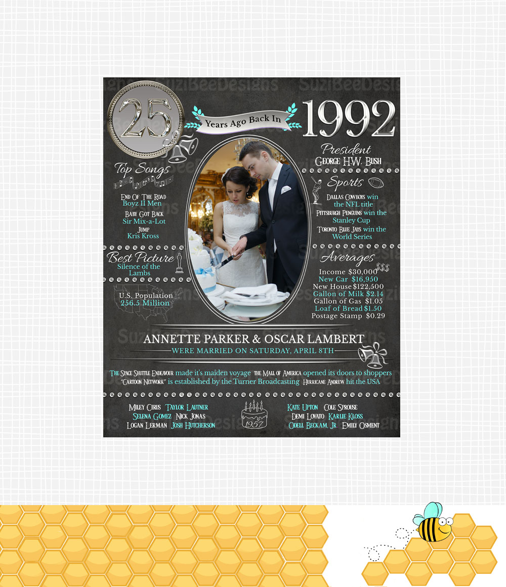 year you were married 25th 50th or any anniversary poster