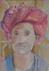 Man with tie-dye turban