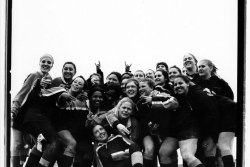 Women gather for a black and white portrait at the Bingham Cup Gay Rugby Tournament on Randall's Island In New York City. The event, a celebration of full-contact rugby, is a major tourist draw for LGBT athletes.