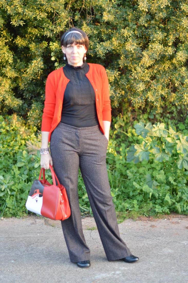 wide legged wool trousers