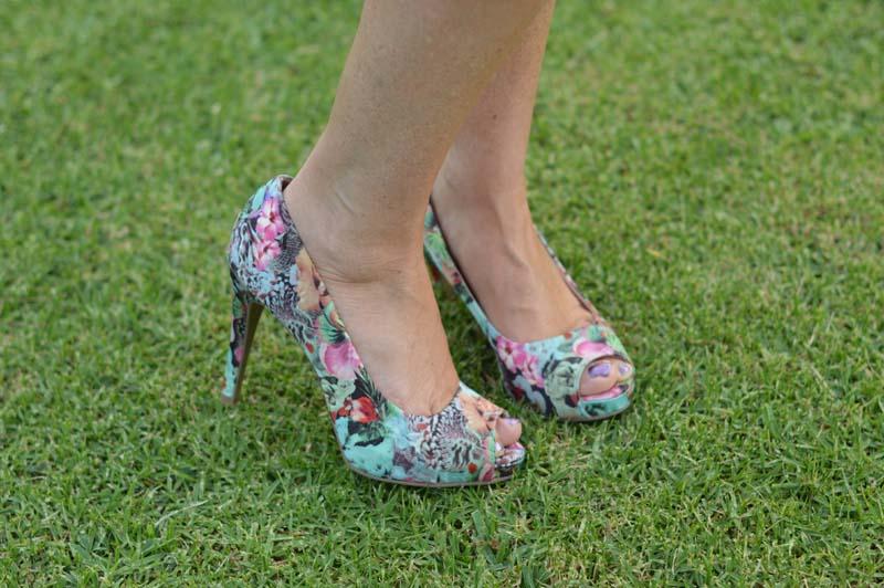 Floral peep-toe heels