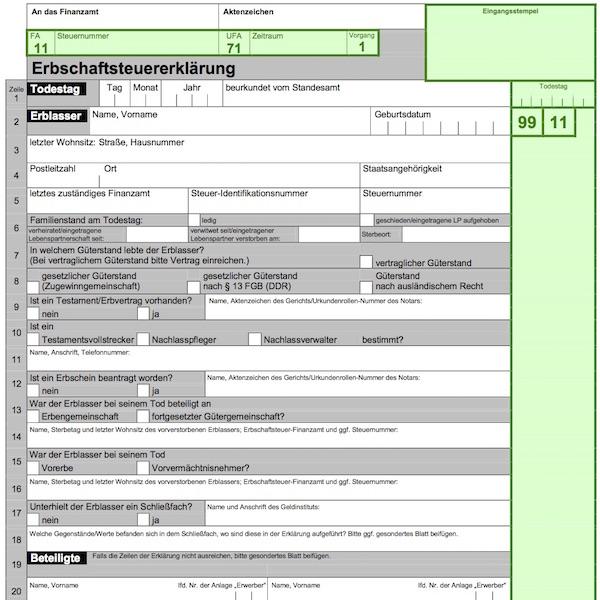Erbschaftsteuererklarung
