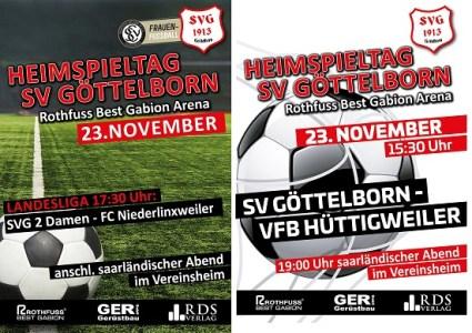 Heimspiele am 23. November - Fußballverein im Saarland
