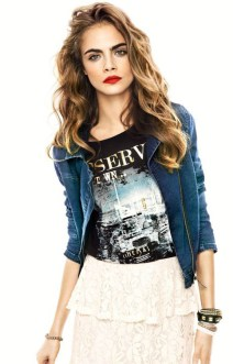 graphic tee fashion stylish cara delevigne and skirt