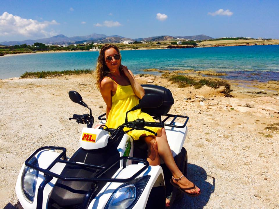 Paros_Travel Guide_What to do_Where to eat_What to see in Paros Island Greece_Rent a quad_ATV_visit the island_map_where to go_girl_rayban_yellow dress_fashion_styel